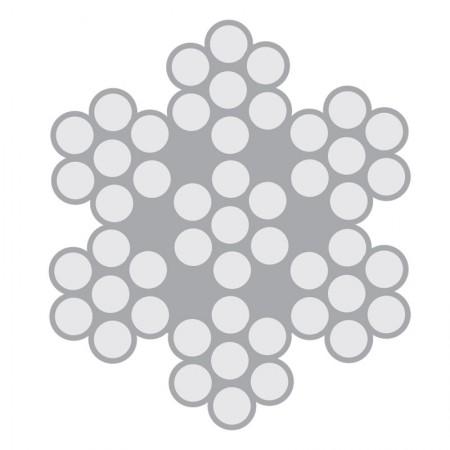 Cabo de Aço Inox Classe 6×7 com alma de aço – AISI 304 e AISI 316