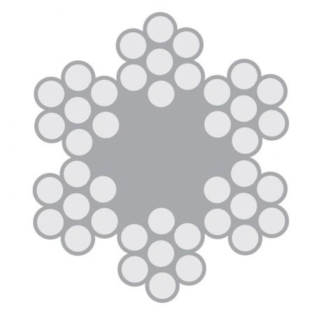 Cabo de Aço Inox Classe 6X7 com alma de fibra – AISI 304 e AISI 316
