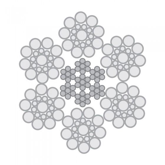 Cabo de Aço Classe 6×19 Seale 1+9+9 alma de aço – Polido e Galvanizado