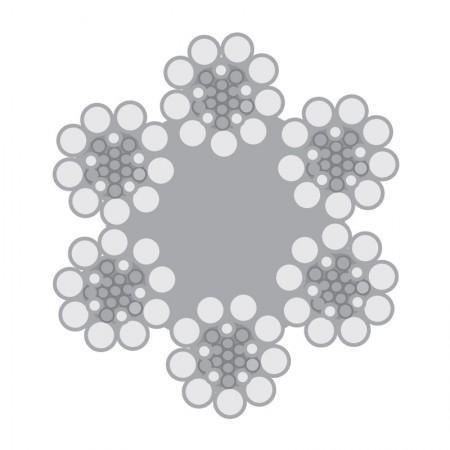Cabo de Aço Classe 6×26 Warrington-Seale alma de fibra – Polido e Galvanizado