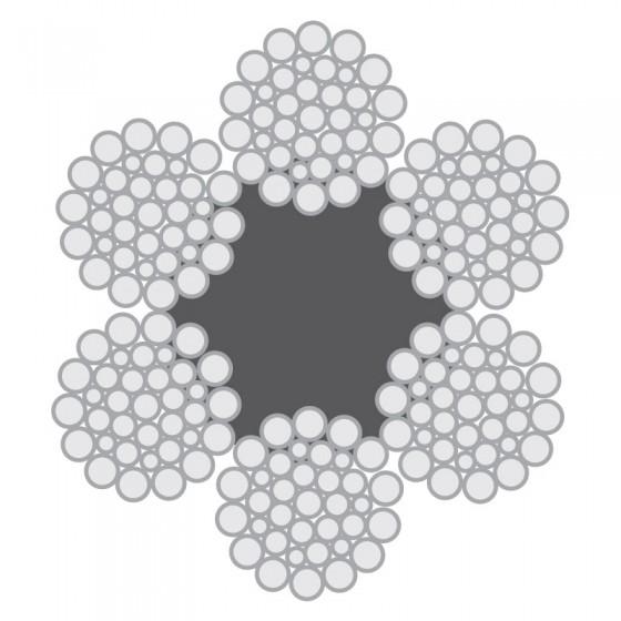 Cabo de Aço Classe 6×36 Warrington-Seale alma de fibra – Polido e Galvanizado