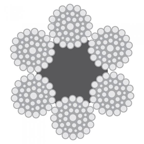 Cabo de Aço Classe 6×49 Filler-Seale alma de fibra – Polido e Galvanizado